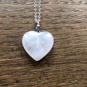 Jewelry - Rose quartz heart sterling silver necklace NWT